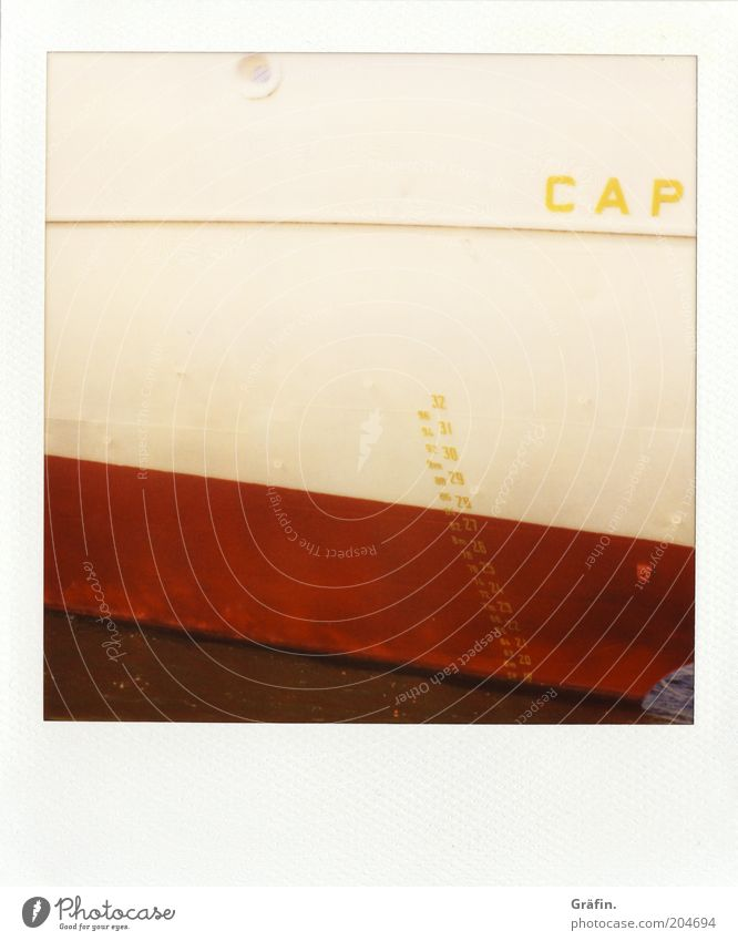 capricious Sightseeing Cruise Harbour cap san diego Passenger ship Bow Metal Sign Digits and numbers Red White Tourism Museum harbour Elbe Colour photo Polaroid