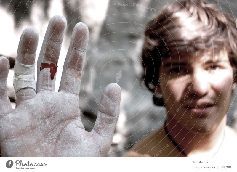 Human being Youth (Young adults) Adults Young man Masculine 18 - 30 years Dangerous Adventure Fingers Hand Climbing Pain Risk Blood Effort Sportsperson