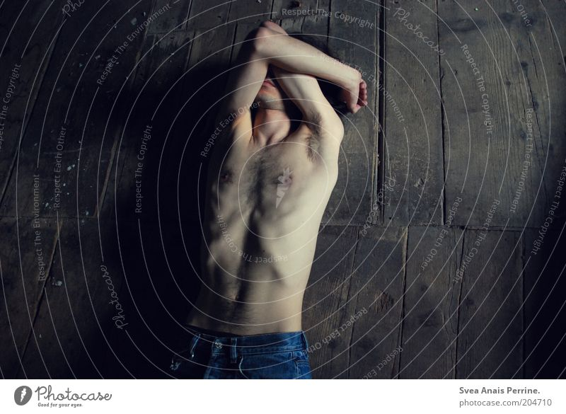 . Masculine Stomach 1 Human being 18 - 30 years Youth (Young adults) Adults Jeans Wood Lie Sadness Cry Dark Thin Gloomy Brown Emotions Naked Dirty Colour photo