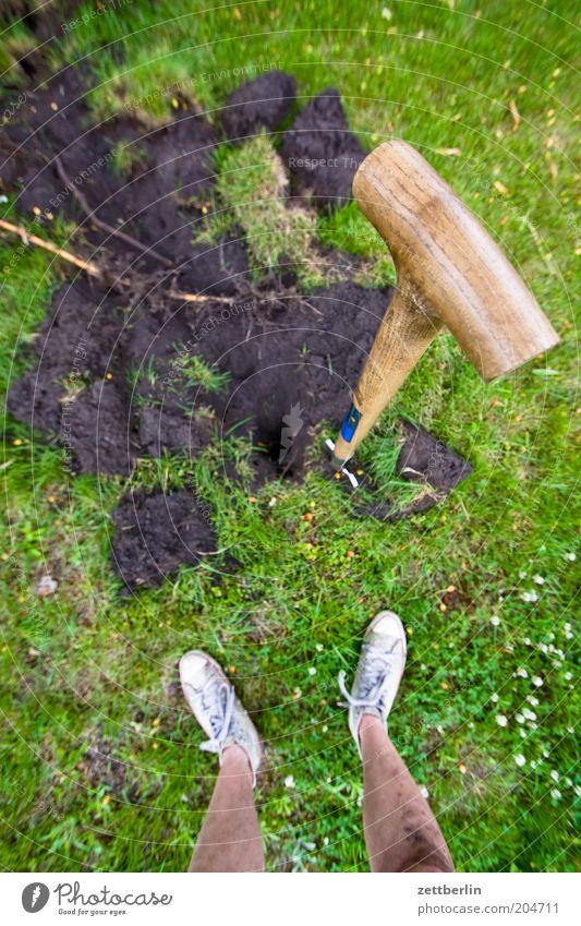 digging up Plant Grass Summer Spade Feet Legs Tibia Man Human being Stand Gardening Work and employment spadehandle Earth Men's leg Gardening equipment Shovel