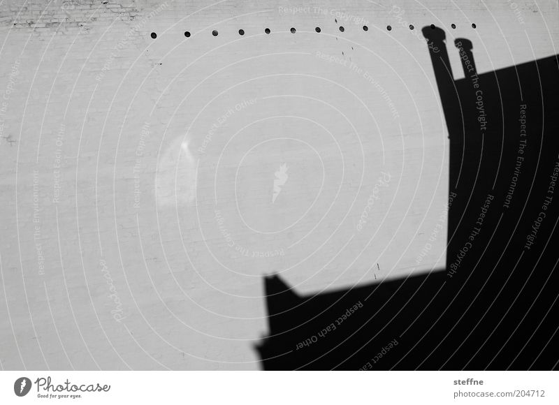perforation line House (Residential Structure) Roof Esthetic Shadow Black & white photo Exterior shot Copy Space left Copy Space middle Gable Attic story