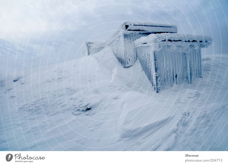 Blue Far-off places Winter Mountain Cold Snow Ice Trip Peak Protection Frost Strong Hut Gale Survive Extreme