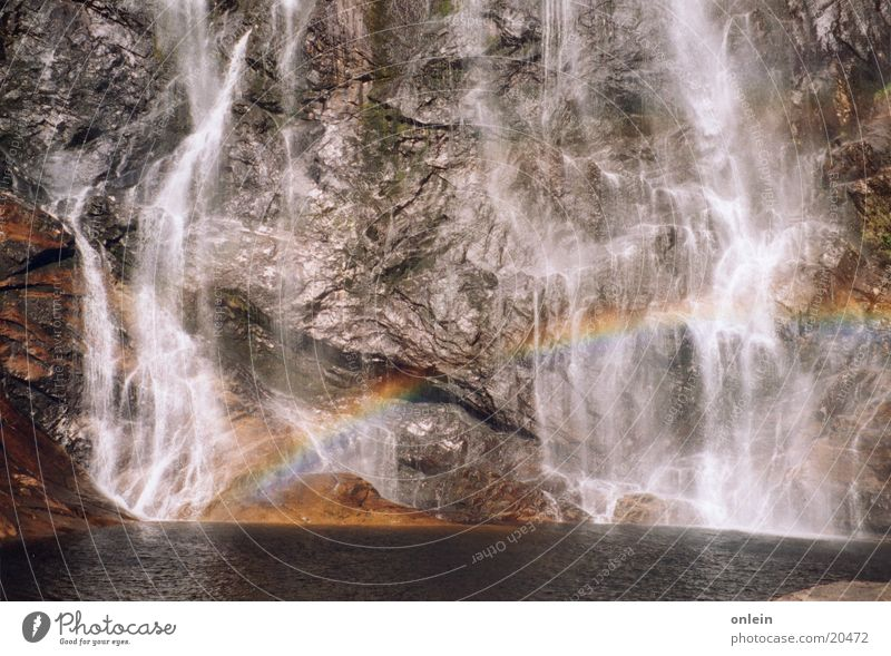 Water Stone Glittering Rock Waterfall Rainbow