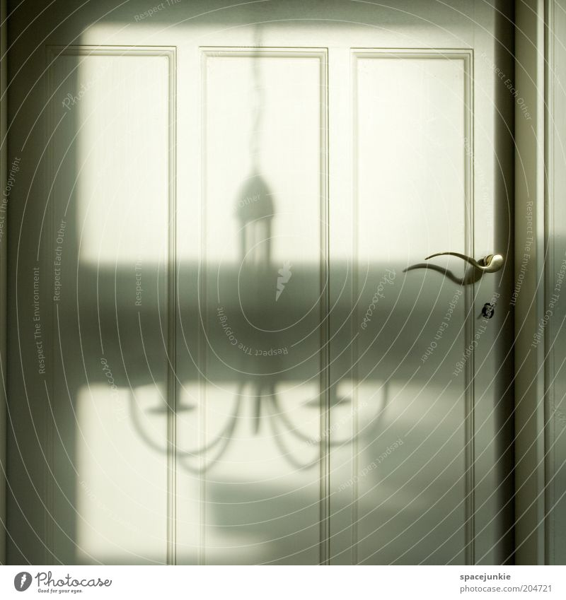 Shadow at the door Safety Protection Safety (feeling of) Door Door handle Lamp Chandelier Closed Flat (apartment) Entrance Front door Colour photo Interior shot