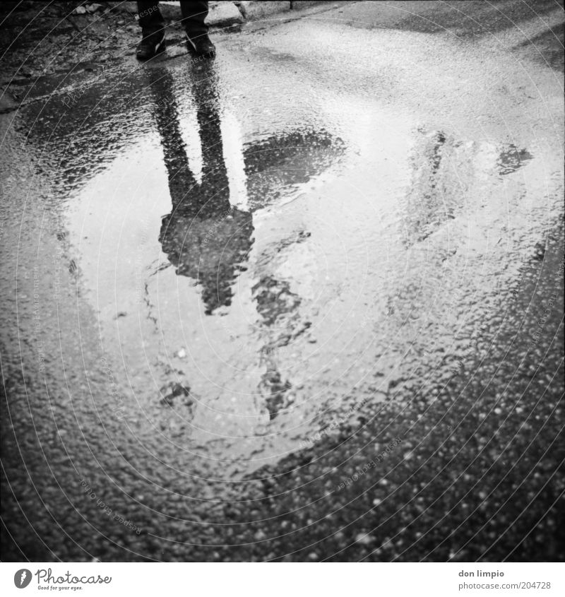 Human being Man White Black Dark Rain Adults Masculine Analog Surrealism Anonymous Puddle Rainwater Medium format Bad weather Abstract