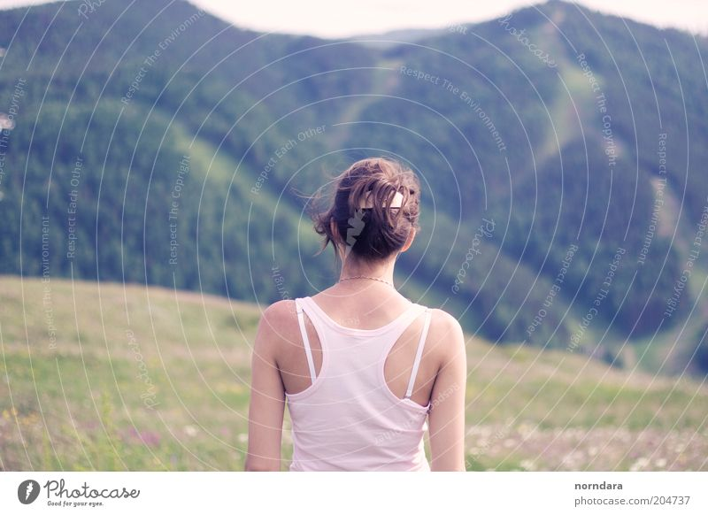 your lines Human being Young woman Youth (Young adults) Breathe Moody Siberia Landscape Mountain Back Woman Green Sky Flower stem Calm Nature hairstyle Shirt
