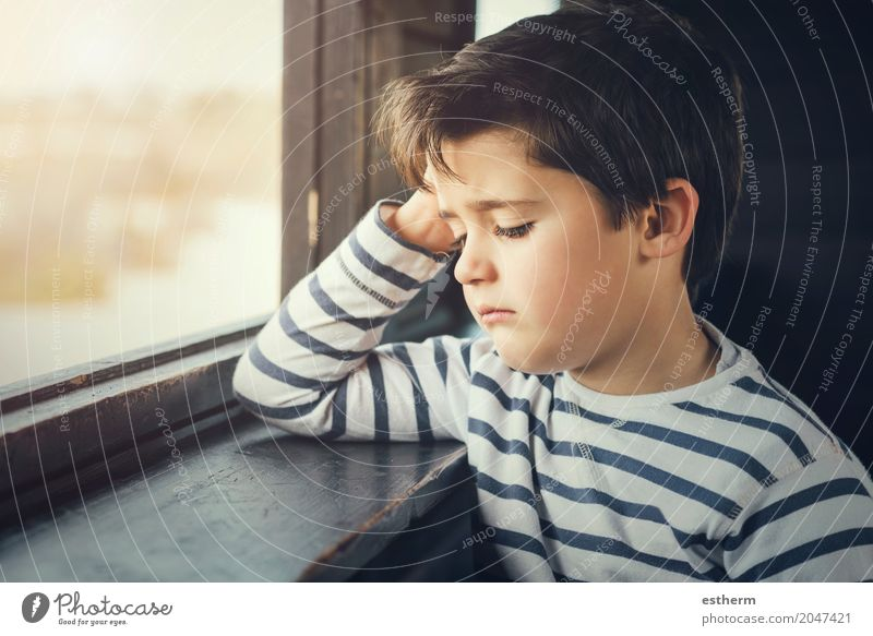 Sad boy Human being Child Loneliness Lifestyle Sadness Emotions Boy (child) Think Moody Dream Infancy Wait Grief Pain Stress Toddler