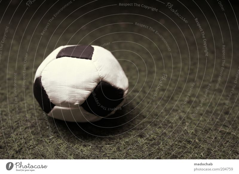 White Black Sports Emotions Moody Soccer Foot ball Ball Broken Symbols and metaphors Exhaustion Level Negative Ball sports Slack Artificial lawn