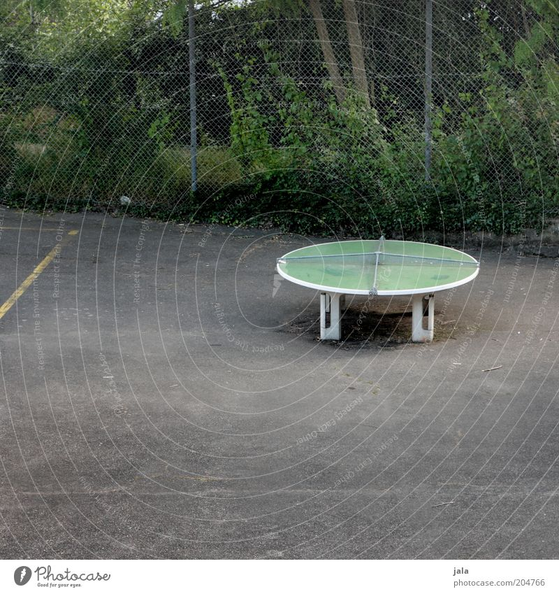 How about we play a round? Sports Funsport Leisure and hobbies Table tennis Table tennis table Sporting Complex Places Fence Gloomy Round Colour photo