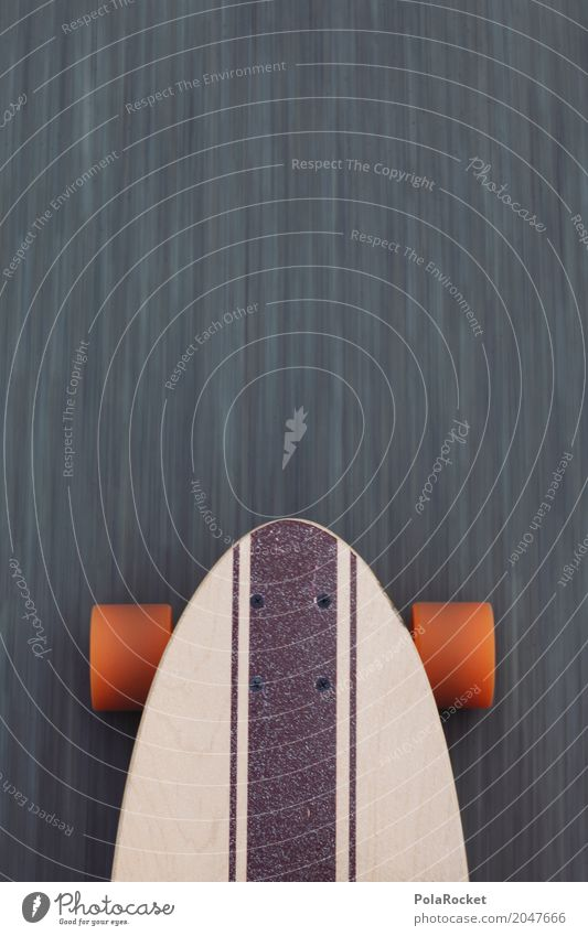 #AS# Longboard on the road 2 Lifestyle Leisure and hobbies Movement Sports Athletic Dynamics Asphalt Orange Skateboard Skateboarding Cool (slang) Detail