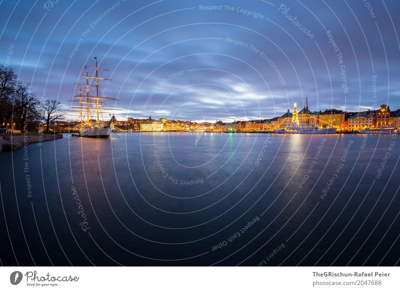 Stockholm by Night Capital city Port City Blue Yellow Gold Violet White Town Dusk Tree Christmas tree Light Ocean Reflection Sailing ship Watercraft