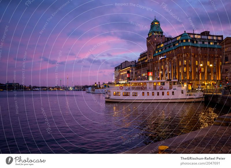 ship Town Capital city Blue Violet Orange Turquoise White Stockholm Hotel Manmade structures Watercraft Sweden Clouds Twilight Building Light Harbour
