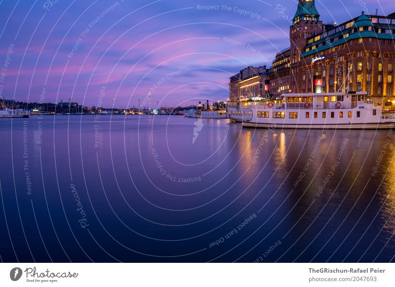 ship Town Blue Yellow Turquoise White Watercraft Clouds Capital city Reflection Hotel Light Stockholm Sweden Moody Twilight Colour photo Exterior shot