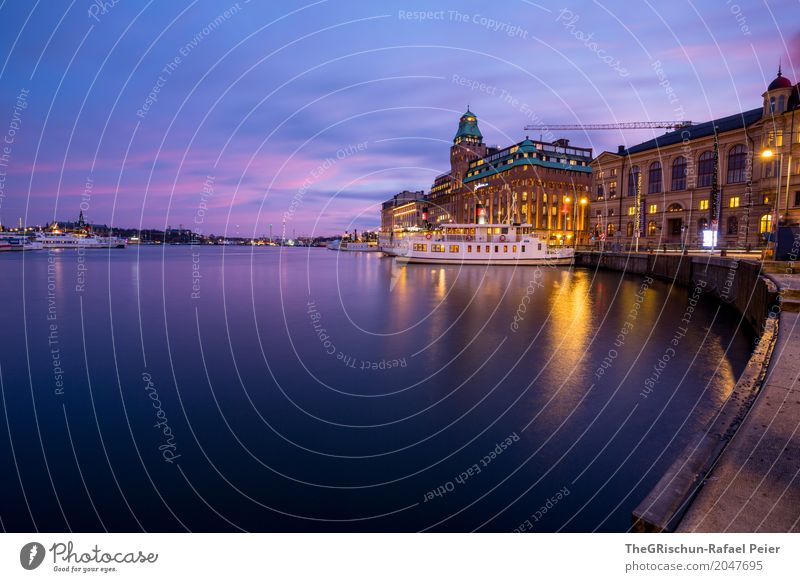 shipping Town Capital city Blue Yellow Gold Violet Turquoise White Stockholm Sweden Water Reflection City trip Hotel Navigation Light Twilight Moody Drop anchor