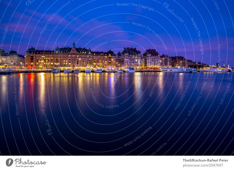 Stockholm by night Capital city Blue Brown Yellow Gold Violet Red Turquoise Sweden Watercraft Harbour Navigation City trip Reflection Light Still Life Cold