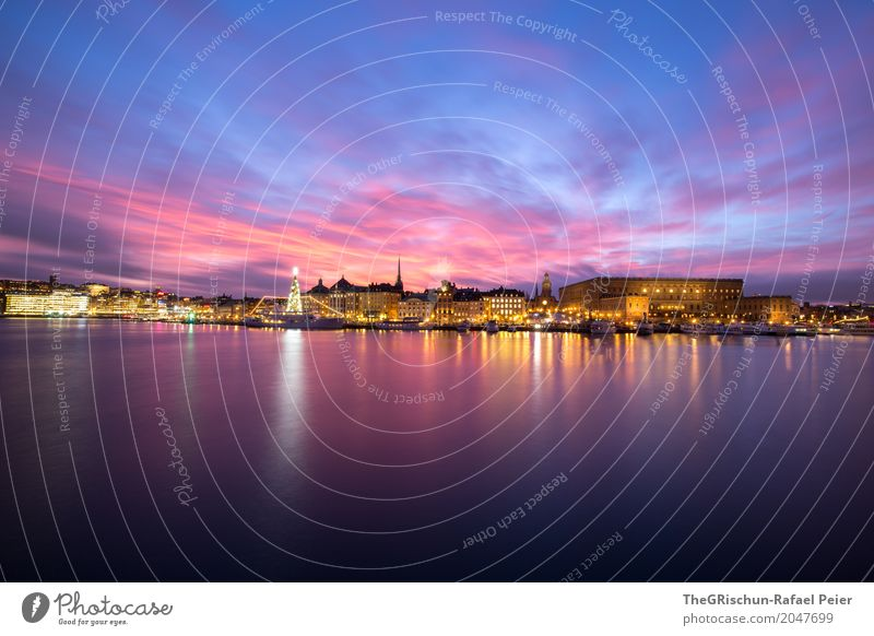 stockholm Town Capital city Blue Yellow Gold Violet Pink White Stockholm Sweden Moody Clouds House (Residential Structure) Palace Christmas tree Reflection