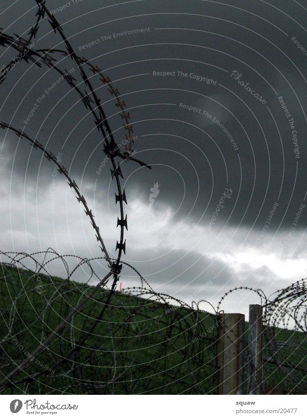 Clouds Landscape Barbed wire