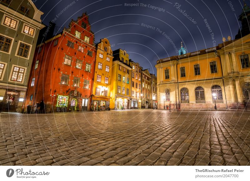 Gamla Stan Town Capital city Blue Brown Yellow Gray Red White Stockholm Sweden House (Residential Structure) Night Light Paving stone Tourism Attraction Valued