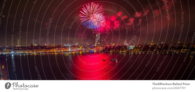 Stockholm_New Year Capital city Port City Red Black Multicoloured Firm Feasts & Celebrations New Year's Party Firecracker Ocean Reflection Panorama (Format)