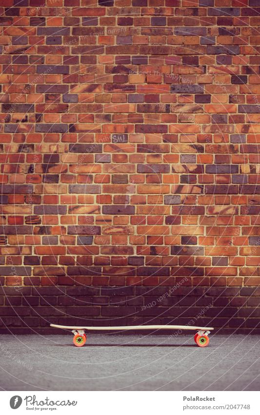 Lifestyle Sports Movement Playing Leisure and hobbies To enjoy Cool (slang) Athletic Skateboarding Brick wall Longboard