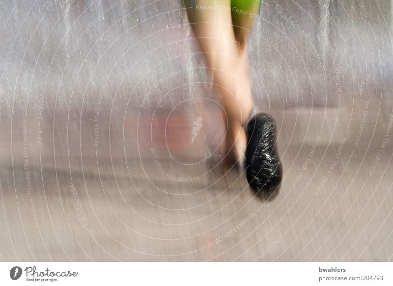 Refreshment at 30° C Human being Legs Feet 1 Footwear Water Going Walking Cold Wet Colour photo Exterior shot Detail Day Blur Motion blur Running Girl`s leg