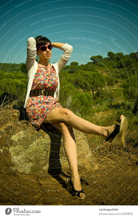 Nature Hill Fashion Clothing Dress Footwear Sit Cool (slang) Fresh Multicoloured Happiness Elegant Field Woman Retro Beauty Photography Tree Funny Colour photo