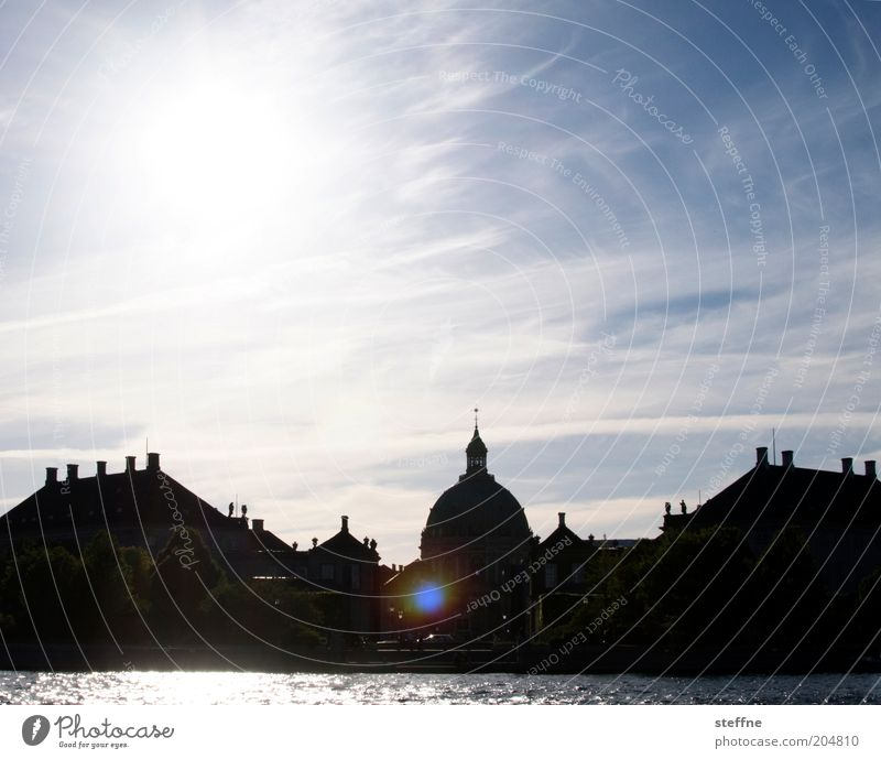 marble birches Sky Beautiful weather Ocean Copenhagen Denmark Port City Old town House (Residential Structure) Church Dome Castle Historic Colour photo