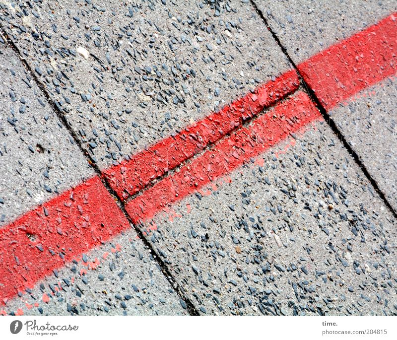 Interface Diagonal Floor covering Red Line Parallel Furrow Seam Exterior shot Signs and labeling Corner Old Second-hand Gray Washed out Colour photo Deserted