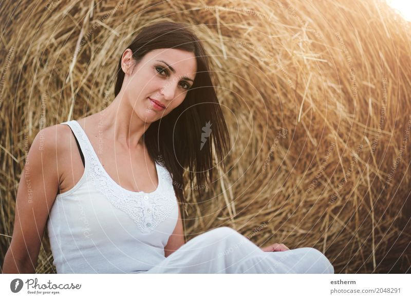 Smiling girl sitting on the straw Lifestyle Elegant Style Beautiful Human being Feminine Young woman Youth (Young adults) Woman Adults 1 30 - 45 years Meadow
