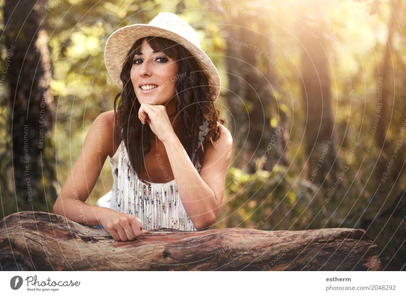 Portrait of pretty woman smiling in nature Lifestyle Elegant Beautiful Vacation & Travel Tourism Trip Adventure Freedom Human being Feminine Young woman