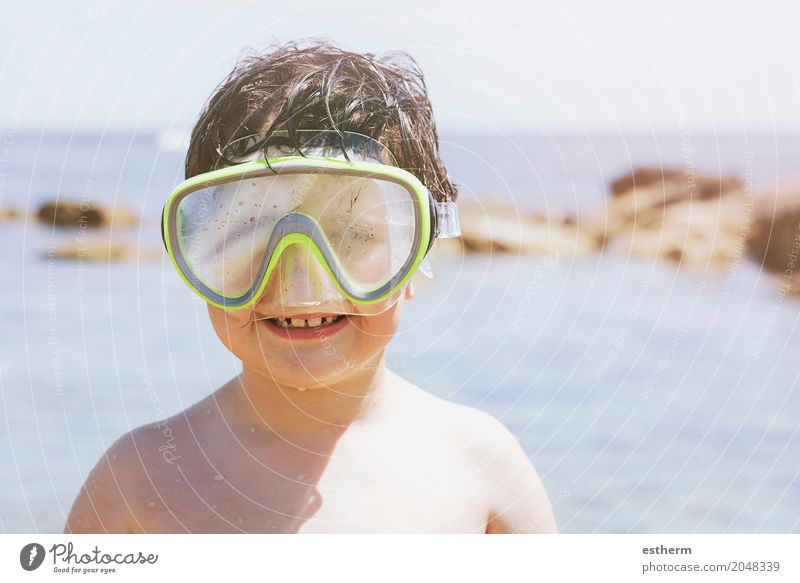 Boy on the beach Lifestyle Swimming & Bathing Leisure and hobbies Vacation & Travel Tourism Trip Adventure Sightseeing Summer Summer vacation Sunbathing Beach