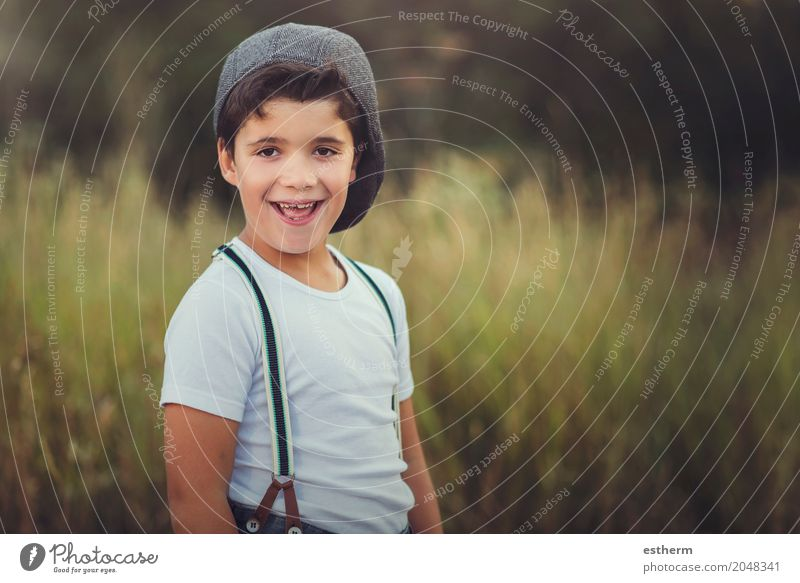 Happy child in the field Lifestyle Adventure Human being Child Toddler Boy (child) Infancy 1 3 - 8 years Nature Meadow Field To enjoy Smiling Laughter Romp