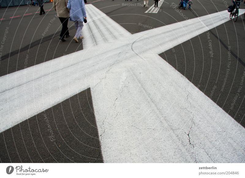 Tempelhof Field Berlin Trajectory Airport Airfield Runway Asphalt Traffic lane Lane markings Structures and shapes Corner Geometry Human being Going In transit