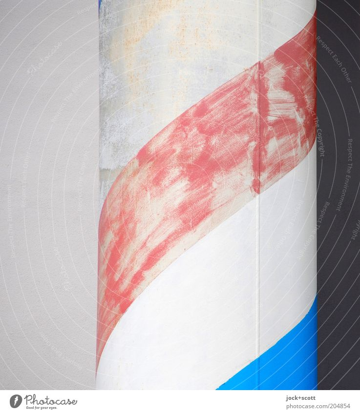 posterior wall and column Column Concrete Graffiti Line Stripe Decoration Simple Firm Uniqueness Blue Red White Moody Modest Creativity Feeble Style Change
