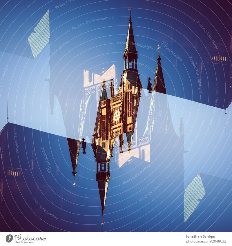 Erfurt Cathedral II Town Old town Skyline Religion and faith Church Dome Sharp-edged Double exposure Church spire Thuringia Europe Orientation Martin Luther