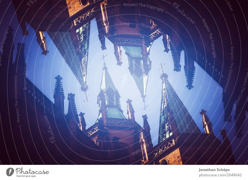 Erfurt Cathedral I Town Old town Skyline Church Dome Sharp-edged Double exposure Church spire Thuringia Europe Orientation Martin Luther Jubilee