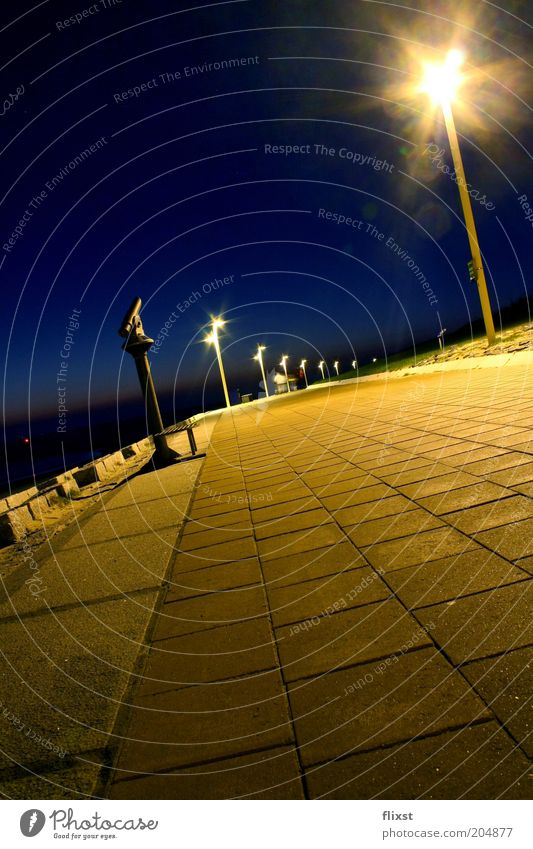 From gold to blue Cloudless sky Night sky Beautiful weather Coast Norderney Germany Europe Deserted Promenade Colour photo Exterior shot Copy Space top