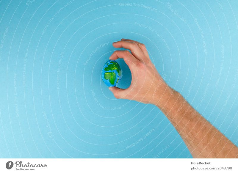 Hand Loneliness Art Earth Design Esthetic Creativity Idea To hold on Egg Globe Climate change Planet Painted Fashioned