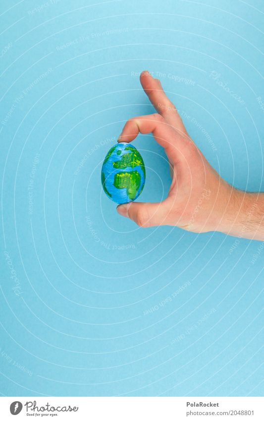 #AS# The Whole Egg In His... # Art Esthetic Eggshell Hand To hold on Retentive Globe Earth World heritage Map of the World Around-the-world trip Global