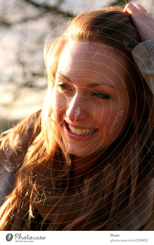 Human being Youth (Young adults) Joy Feminine Laughter Happiness Authentic Joie de vivre (Vitality) Natural Brunette Smiling Portrait photograph Long-haired Perspective Optimism Self-confident