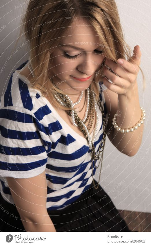 Human being Youth (Young adults) Hand Beautiful Adults Feminine Fashion Blonde Elegant T-shirt 18 - 30 years Young woman Long-haired Striped Necklace Timidity
