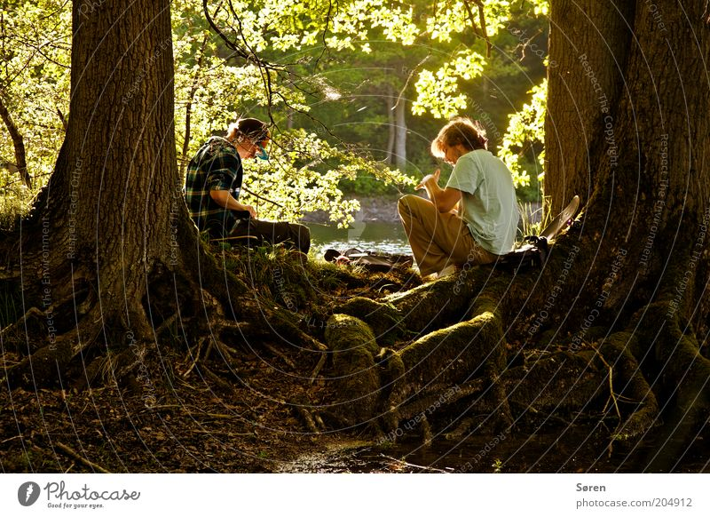Tom Sawyer and Huckleberry Finn Human being Masculine Brothers and sisters Friendship Couple Youth (Young adults) Life 2 18 - 30 years Adults Nature Summer