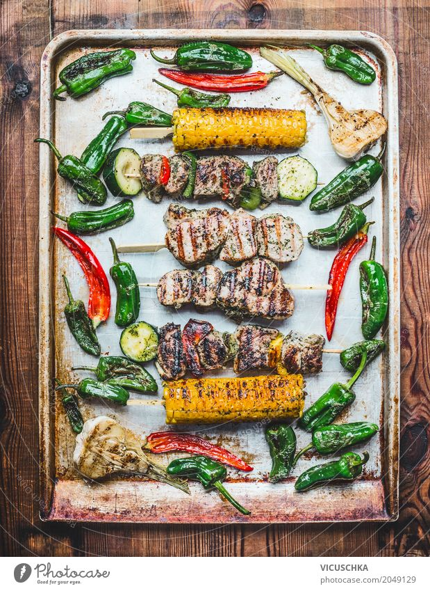 Grill plate with roasted meat skewers, vegetables and corn on the cob Food Meat Vegetable Lunch Picnic Organic produce Style Design Healthy Eating Kitchen