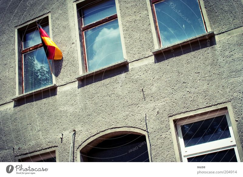 Old House (Residential Structure) Joy Window Wall (building) Sports Wall (barrier) Gray Moody Facade Gloomy Success Soccer Transience German Flag Flag