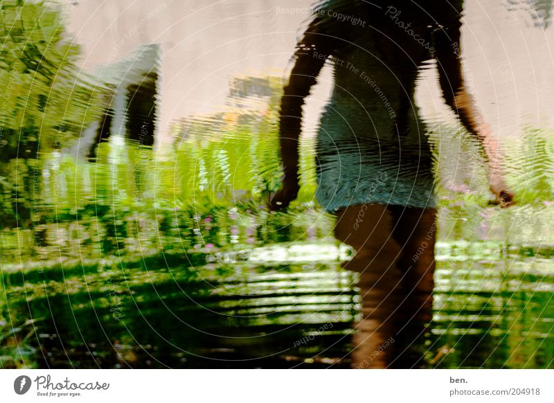 Woman Human being Nature Water Plant Garden Lake Adults Pond Anonymous Mirror image Reflection Distorted Headless Mini skirt Faceless