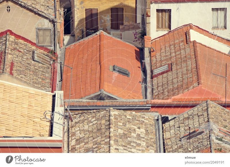 individuality Sardinia Town Old town House (Residential Structure) Roof Eaves Historic Uniqueness Contentment Together Romance Claustrophobia Society