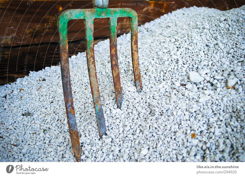 Such... gravel! House building Redecorate Rural conservation Craft (trade) Construction site Tool Pitchfork Stone Wood Metal Build Rust Old Gravel Pebble