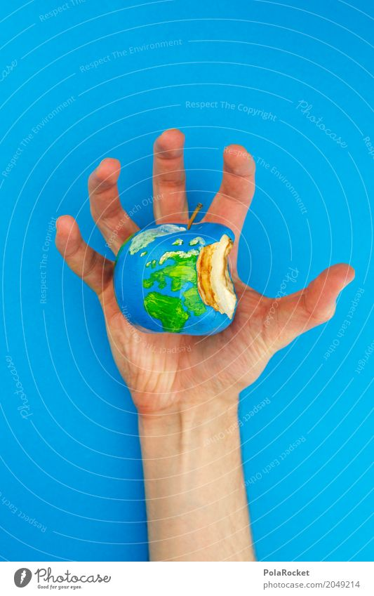 Hand Art Earth Esthetic Climate Threat To hold on Painting and drawing (object) Organic produce Apple Balance Sustainability Globe Ecological Work of art