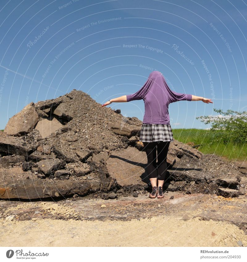 """""""Why are you like this?"""" Human being Feminine Young woman Youth (Young adults) 1 Bizarre Uniqueness Joy Identity Surprise Stand Building rubble Heap Sky Hide"""