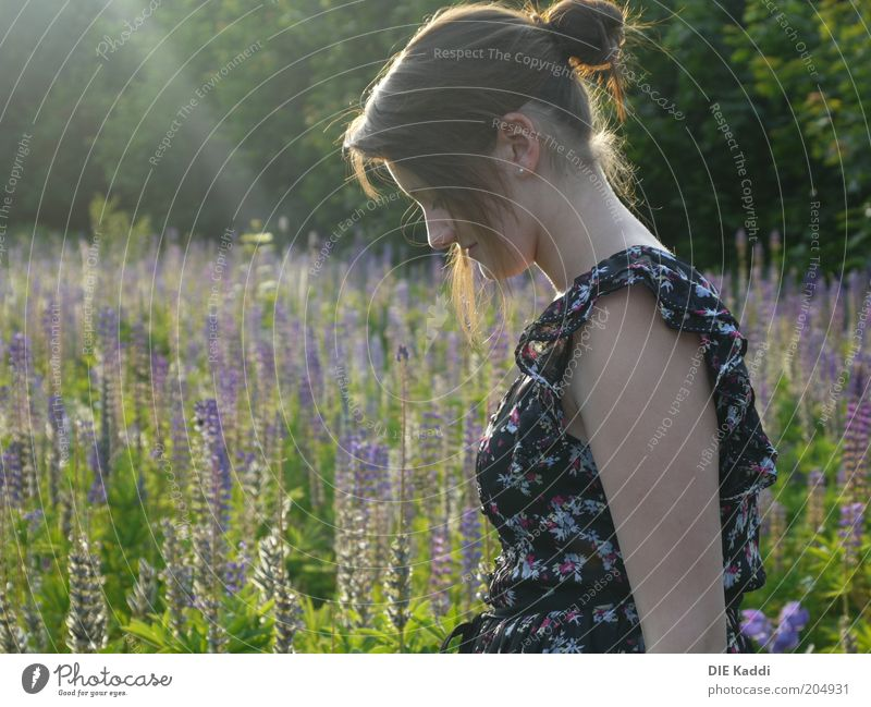 Sun makes you happy Human being Feminine Youth (Young adults) 1 Nature Sunlight Summer Beautiful weather Flower Wild plant Meadow Dress Hair and hairstyles